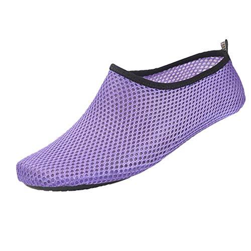 Yomiafy Mens Womens Outdoor Water Sport Shoes Quick-Dry Barefoot Aqua Socks for Beach Swim SurfPurpleUS65-75
