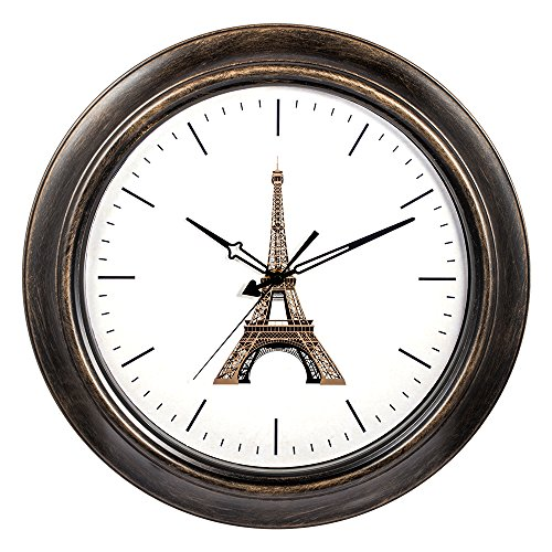 SkyNature Large Decorative Indoor Outdoor Wall Clock with Metal Frame and Glass Lens for 18 inch Eiffel Tower
