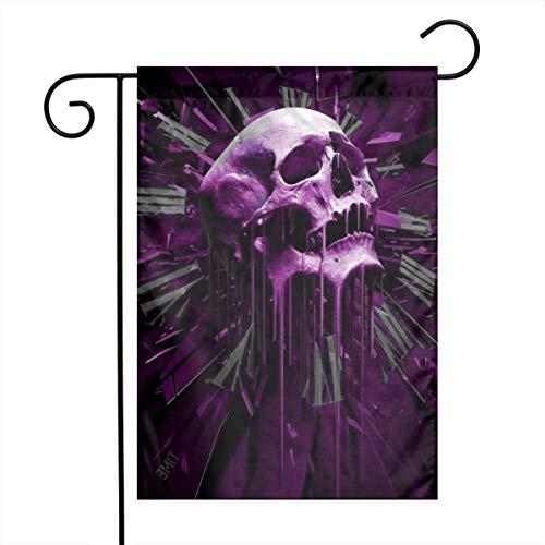 Outdoor Garden Clock Purple Skull Flag 12 X 18 Inch Farmhouse Burlap Yard Outdoor Decor