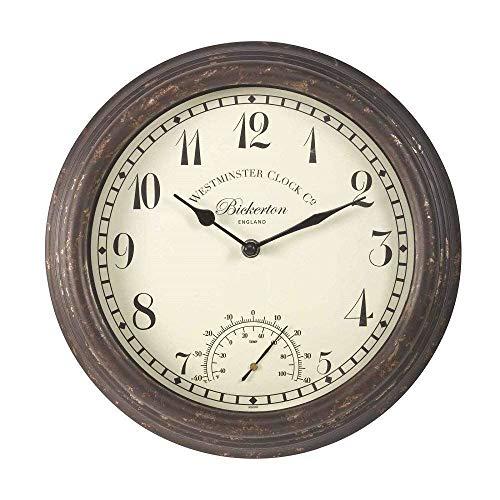 Smart Garden Bickerton Indoor Outdoor Garden Clock 12  30cm  Temperature Gauge Wall Clock
