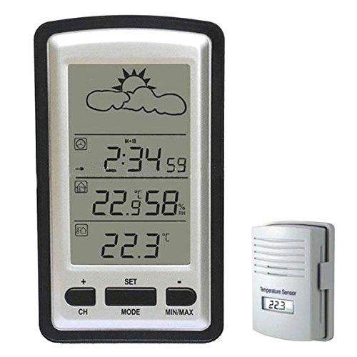 Hopcentury Digital Lcd Wireless Weather Station Barometer Indoor  Outdoor Remote Thermometer Sensor Alarm Clock