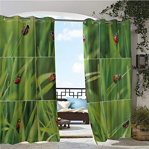 1GShophome Ladybug pergolas and gazebos Ladybug Over Fresh Grass Collection Divided Collage Vibrant Life Lawn Foliage Theme Door Panel Curtain Green Red W120 x L120 in