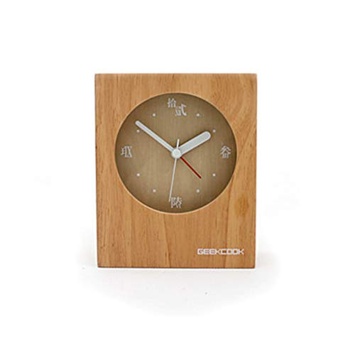 DQMSB Wooden Clock Bedroom Bedside Simple and Quiet Sitting Clock Small Table Clock