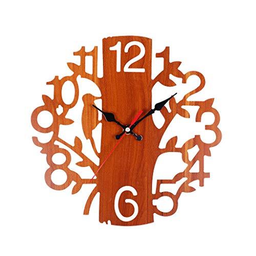 BB67 Tree Shaped Hollow Wooden Wall Clock Decorative Clock Numerals Quartz Clock Home Decoration Gift