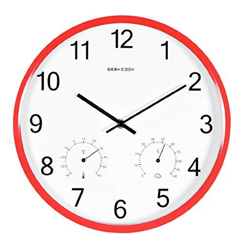 Wissvenl 12-inch Round Indoor and Outdoor Garden Quartz Clock Thermometer Hygrometer Decorative Clock Suitable for Living Room Bedroom Study Office Bathroom Garden Red