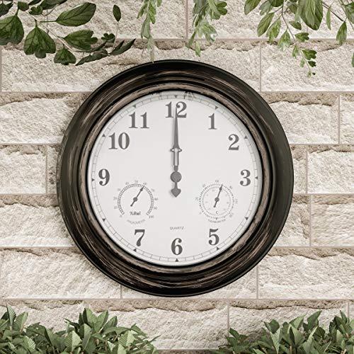 Pure Garden Wall Thermometer-Indoor Outdoor Decorative 18 Quartz Battery-Powered Waterproof Clock Temperature and Hygrometer Gauge Bronze