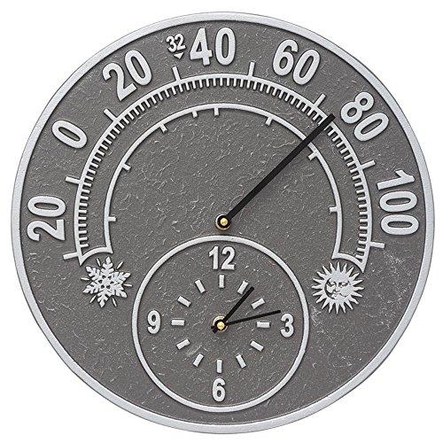 Solstice 14-in Indoor Outdoor Wall Clock Thermometer - 01785