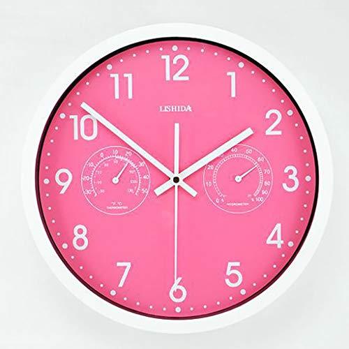 Wissvenl IndoorOutdoorGarden Quartz Mute Wall Clock Thermometer Hygrometer Clock Creative Minimalist Design Suitable for Living Room Kitchen Bedroom Outdoor 12 Inch Round Creative Wall Charts