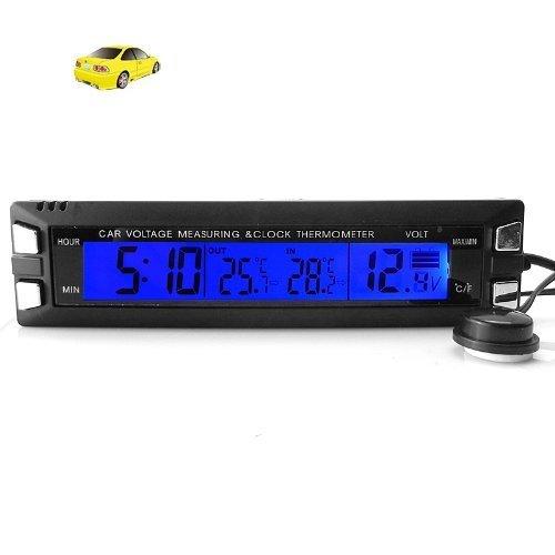 Lcd Car Voltmeter Thermometer Clock Voltage Volt Alarm Indooramp Outdoor