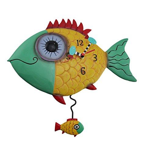 Allen Designs `Wide Eyed Fishy` Pendulum Wall Clock Fish