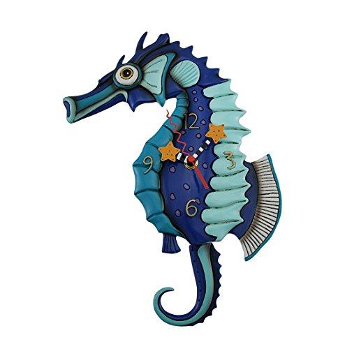 Allen Designs Resin Wall Clocks Allen Designs Salty Seahorse Blue Pendulum Wall Clock 85 X 13 X 15 Inches Blue