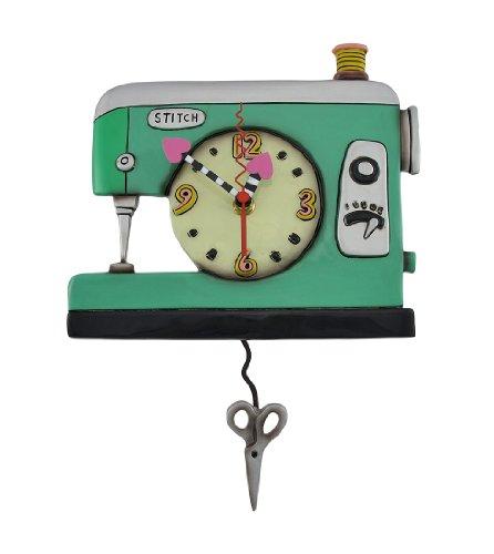 Allen Designs Stitch Sewing Machine Pendulum Wall Clock