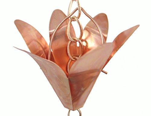 Copper Lily Rain Chain - 6 Feet Decorative Gutter Downspout Alternative