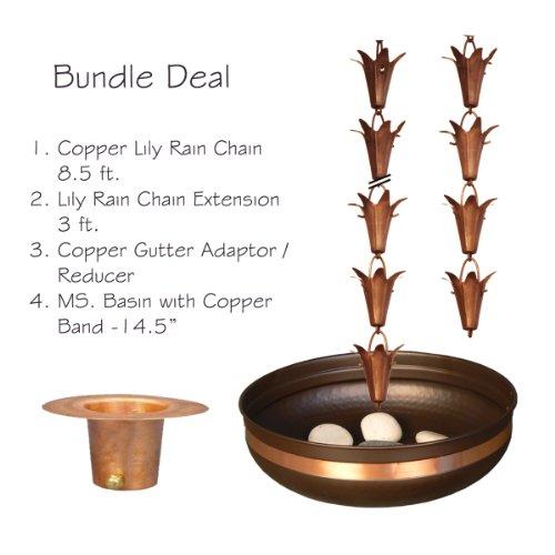 Monarch Pure Copper Lily Rain Chain Bundle Deal