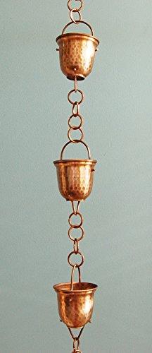U-nitt 8-12 feet Pure Copper Rain Chain hammer bell cup 85 ft length RC211