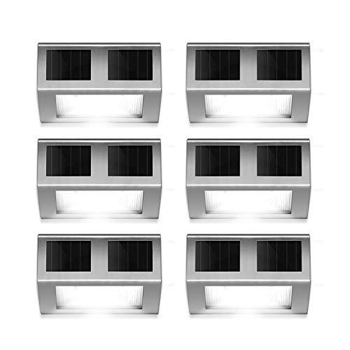 Outdoor Solar Powered LED Stainless Wall Light Step Light for Patio Deck Yard Garden Fence Roof Gutter Sun Power Smart Security Light6-Pack