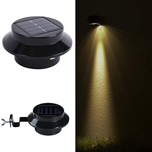 Solar Powered LED Roof Gutter Light Waterproof Fence Gutter Wall Lamp Night Light Black Shell Outdoor Garden Yard Light Warm White
