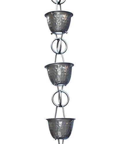 Monarch Rainchain Aluminum Hammered Cup Rain Chain Dark Bronze with Triangular Gutter Clip 85 by Monarch