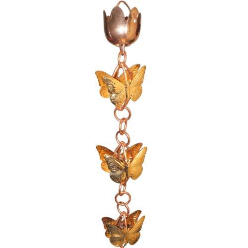 Monarch Rainchains Copper Cascading Butterflies On Rings Rain Chain 85-feet