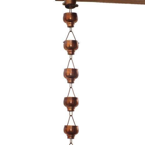Monarch Rainchains Pure Copper Hibiki Rain Chain 8-12-feet