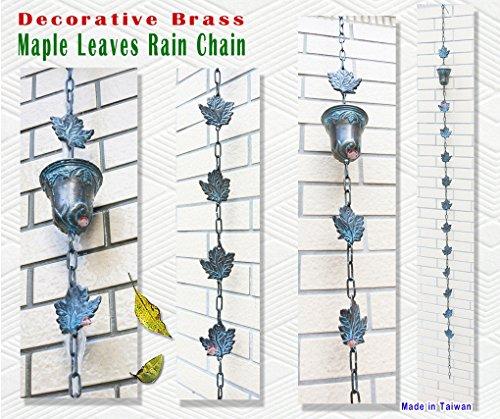 Decorative Brass Maple Leaves Rain Cup  Rain Chain 90&quot Inches H