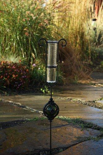Toland Home Garden Garden Delights - Green Decorative Outdoor Garden Stake&nbsprain Gauge Statue&nbspwith Glass Udometer