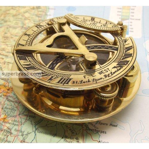Captains Brass Triangle Sundial Compass 3&quot - Brass Desk Compasses - Nautical Decor Home Decoration - Executive