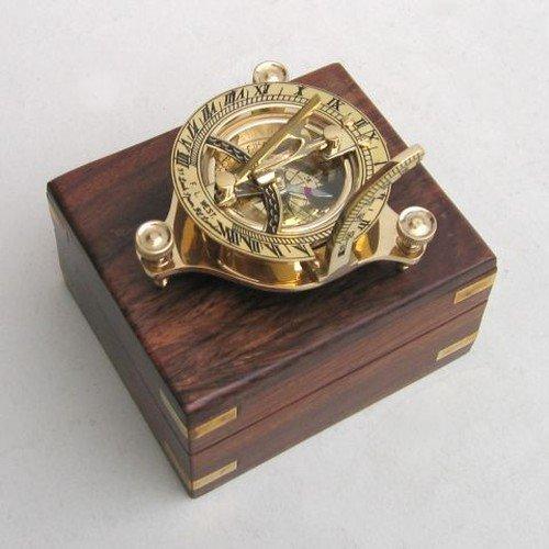 Solid Brass 3&quot Sundial Compass - W Inlaid Hardwood Box