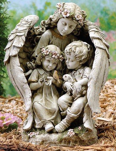 16&quot Josephs Studio Angel With Children Outdoor Garden Statue