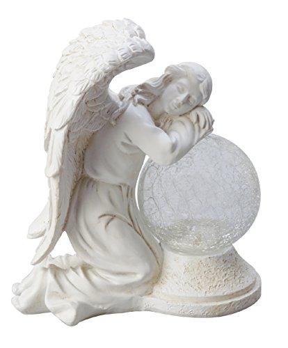 Moonrays 92367 Serene Angel Garden Statue with Crackle Globe Solar Powered White Ledstone