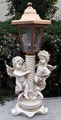 2-Pk Solar Garden Decor Twin Boy Angels Sculpture Light