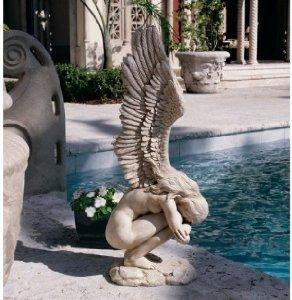 305 18th Century Replica Winged Memorial Angel Sculpture Statue Figurine