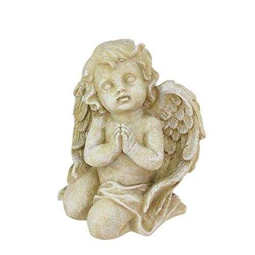 6&quot Heavenly Gardens Distressed Almond Brown Praying Cherub Angel Outdoor Patio Garden Statue