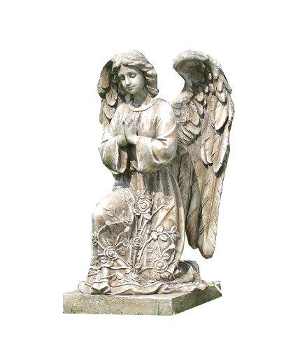 Napco Kneeling Praying Angel On Pedestal Garden Statue