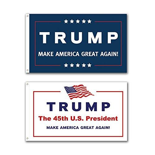 2 Pack -- 3x5ft Commemorative Trump Flag -- Presidental Inauguration Donald Trump -- The 45th US President -- BlueWhite -- MAKE AMERICA GREAT AGAIN