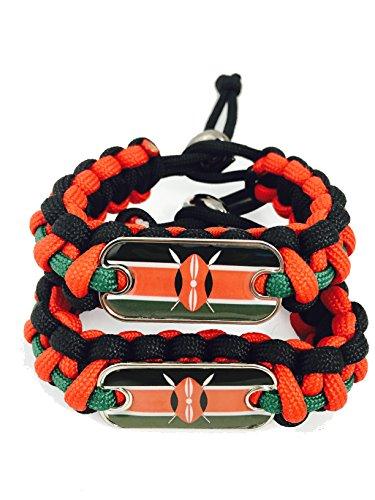 International Charms 2016 Olympic Edition Kenya Paracord Bracelet 2 Pack Redgreenblack With Kenya Flag Dogtag