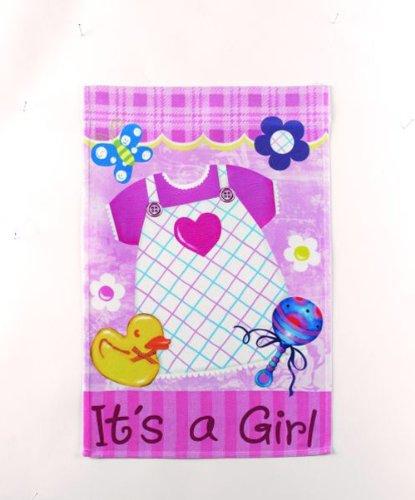 Its a Girl Lawn Flag - Pink Dress - Ganz Garden Accents Garden Flag 12 x 18 Inch
