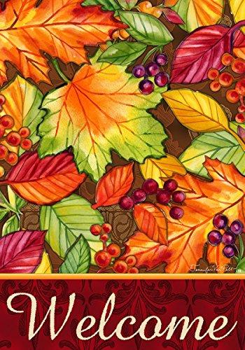 Welcome Leaves Fall Foliage 12 X 18 Inch Garden Flag Custom D&eacutecor