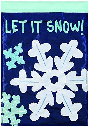 Carson Home Accents Let It Snow Flakes Trends Double Applique Large Flag