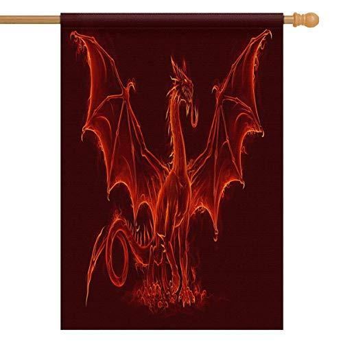 INTERESTPRINT Fire Medieval Dragon House Flag Banner 28 x 40 inch Decorative Garden Flag Wedding Anniversary Outdoor Decor