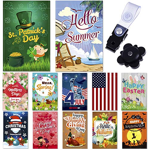 Garden Flags - Set of 12 Seasonal Garden Flags - Festive Outdoor Garden Flags for 12 Monthly Holidays - Yard Flags Made of Sturdy Polyester with Flag Stopper and Mount Included - 12x18 Inches Size