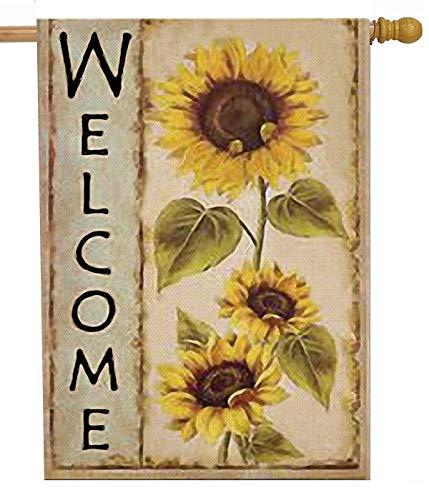 Selmad Welcome Sunflower 28 x 40 House Flag Farm Sunshine Flower Double Sided Fall Floral Burlap Garden Yard Decoration Autumn Seasonal Sweet Home Outdoor Vintage Décor Decorative Summer Large Flag