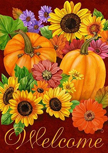 Fall Glory Floral Garden Flag Pumpkins Sunflowers Autumn 125&quot X 18&quot