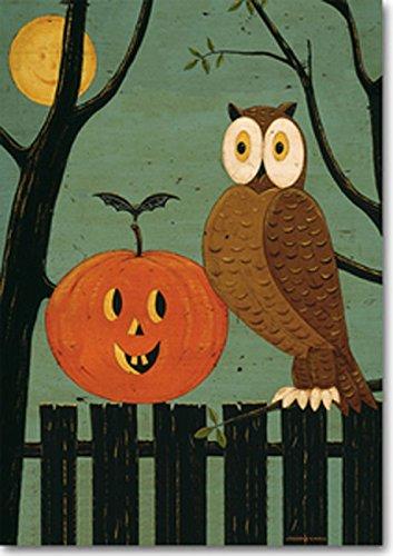 Pumpkin Owl Halloween  Fall Garden Flag