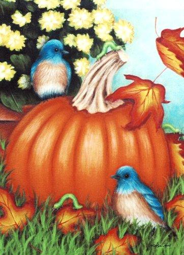 "Bluebirds, Pumpkin & White Mums - Large Decorative Fall Flag 28"" X 40"" For Autumn Thanksgiving Halloween Porch"