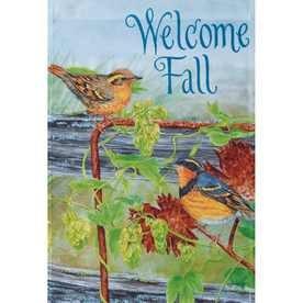 Rain or Shine Welcome Fall Autumn Art Large Porch Flag 28 X 40