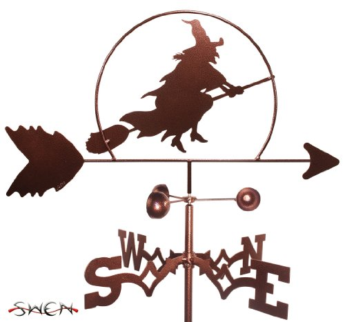 Hand Made Witch Halloween Flat Post Mount Weathervane ~new~