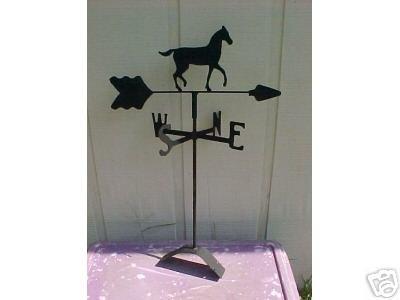 Horse Roof Mounted Weathervane Black Wrought Iron