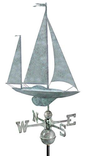 25 Luxury Blue Verde Nautical Yawl Sailboat Weathervane
