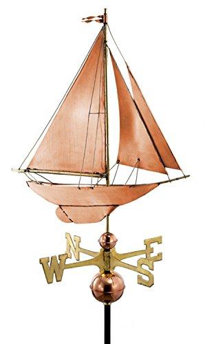27 Luxury Polished Copper Nautical Racing Sloop Sailboat Weathervane